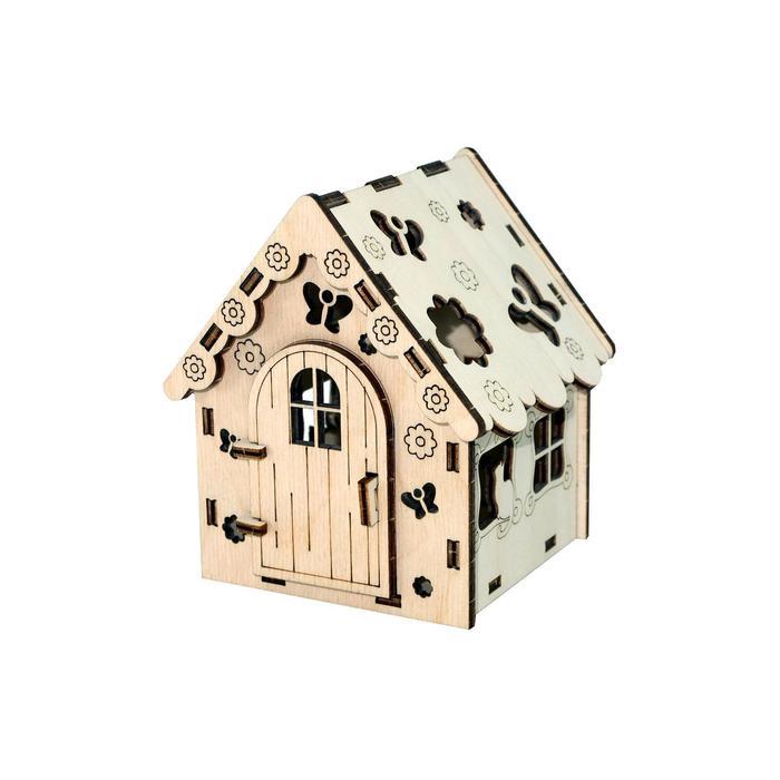 Конструктор деревянный «Домик c котом»