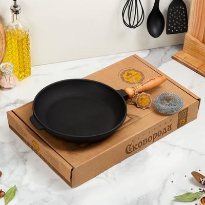 Сковорода чугунная литая, 260 х 40 мм, с деревянной ручкой, премиум набор - Фото 1