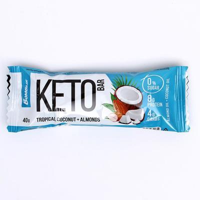 Протеиновый батончик «КЕТО», тропический кокос и миндаль, 40 г - Фото 1