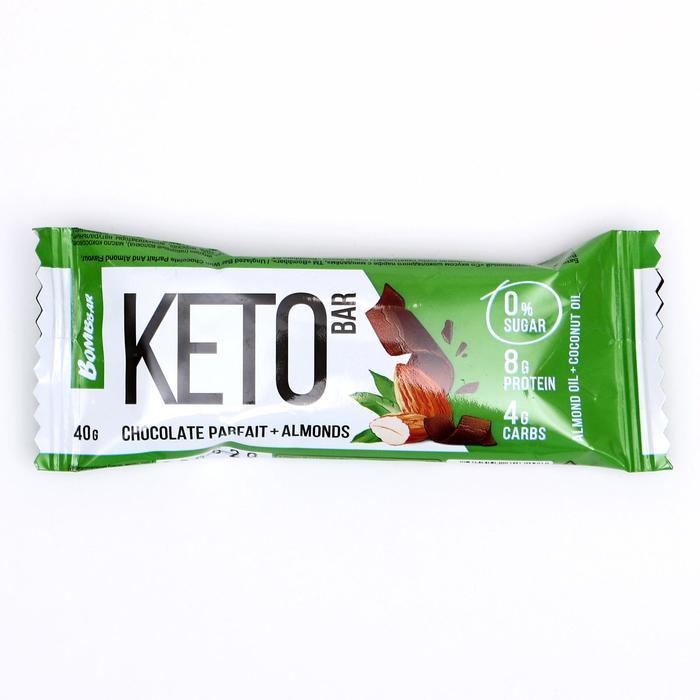 Протеиновый батончик «КЕТО», шоколадный парфе и миндалем, 40 г