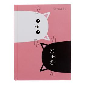 """Записная книжка А6, 96 листов """"Котики"""", сшивная, твёрдая обложка, глянцевая ламинация, тонированный блок"""