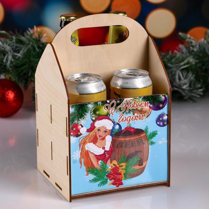 Ящик под пиво С Новым годом снегурка с бочкой