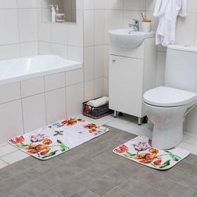 Набор ковриков для ванны и туалета «Тюльпаны на гальке», 2 шт: 50×80, 49×40 см