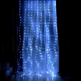 """Гирлянда """"Занавес"""" 2.8 х 3 м , IP20, серебристая нить, 300 LED, свечение белое, 8 режимов, USB"""