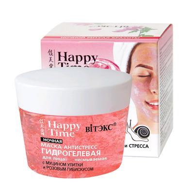 Гидрогелевая маска-антистресс для лица ночная Bitэкс Happy Time с муцином улитки, 90 мл