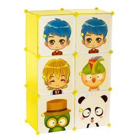 Шкаф модульный для игрушек «Мультяшки-2» белый, салатовый, 6 дв. Ош