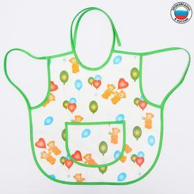 Фартук-нагрудник с карманом, из ткани с ПВХ покрытием, рисунок «Мишки», цвет МИКС