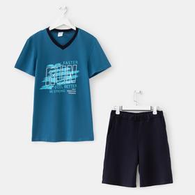 Костюм мужской ( футболка, шорты), цвет петроль, размер 50