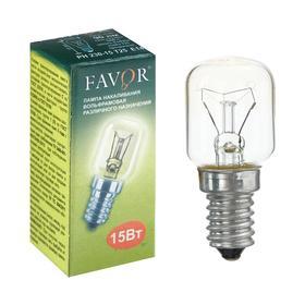 Лампа накаливания Favor, для холодильников и швейных машин, РН, Е14, 15 Вт, 230 В