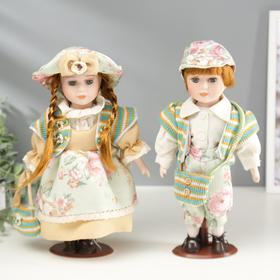 Кукла коллекционная парочка набор 2 шт 'Валя и Витя в цветочных нарядах' 30 см Ош