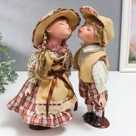 Кукла коллекционная парочка поцелуй набор 2 шт 'Наташа и Олег в нарядах в клетку' 30 см Ош