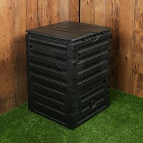 Компостер пластиковый ECO-KING, 300 л, с крышкой, 60 × 60 × 90 см, чёрный Ош