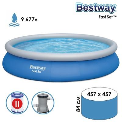 Бассейн надувной Fast Set 457 х 84 см, с фильтр-насосом