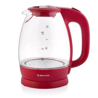 Чайник электрический BRAYER BR1045RD, стекло, 1.8 л, 2200 Вт, автоотключение, красный - Фото 1