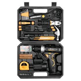 Дрель-шуруповерт DEKO GCD12DU3 и набор инструментов DEKO, 12 В, 2х1.5 Ah, 104 предмета