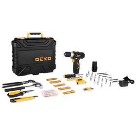 Дрель-шуруповерт DEKO GCD12DU3 и набор инструментов DEKO, 12 В, 1.5 Ah, 195 предметов