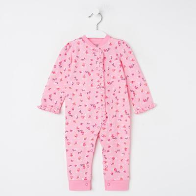 Комбинезон детский, цвет розовый/цветы, рост 62 см - Фото 1