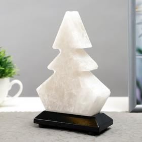 Соляной светильник  'Елка' LED (диод цветной) USB белая соль 10х7х13 см Ош