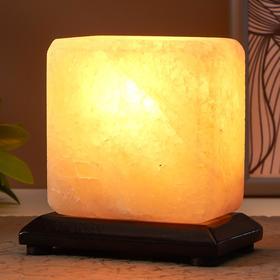 Соляной светильник с диммером  'Квадратик' Е14 15Вт 1,3 кг белая соль 12х7х13 см Ош