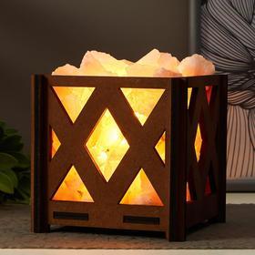 Соляной светильник с диммером 'Корзина Б Ромб' E14 15Вт 14х14х18 см Ош