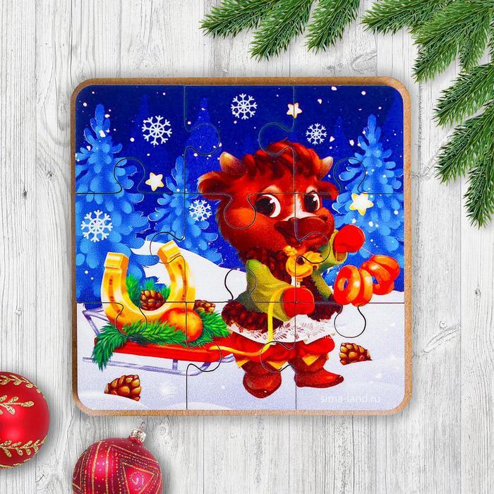 Игрушка из дерева для детей. Пазл Бычок с санками