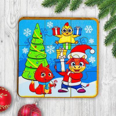 Игрушка из дерева для детей. Пазл «Зверята на празднике» - Фото 1