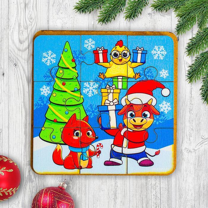 Игрушка из дерева для детей. Пазл «Зверята на празднике»