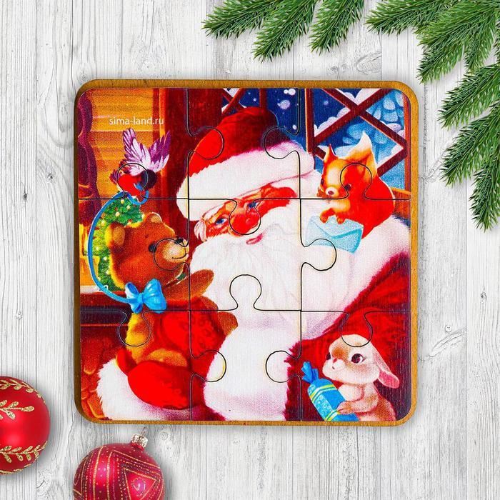 Игрушка из дерева для детей. Пазл «Друзья Деда Мороза»