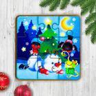 Игрушка из дерева для детей. Пазл «Снеговик и снегири» - Фото 1