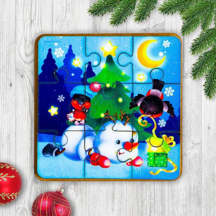 Игрушка из дерева для детей. Пазл Снеговик и снегири