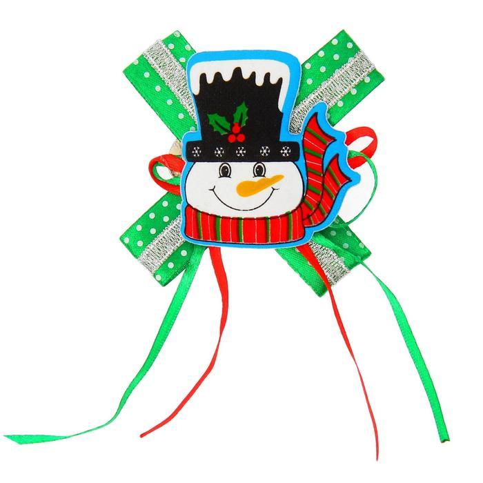 Карнавальный зажим Снеговик, с бантиком, виды МИКС