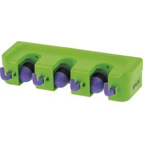 Пластиковый настенный держатель для садово-огородного инструмента, 3 ячейки, 4 крюка// Palisad   526 Ош