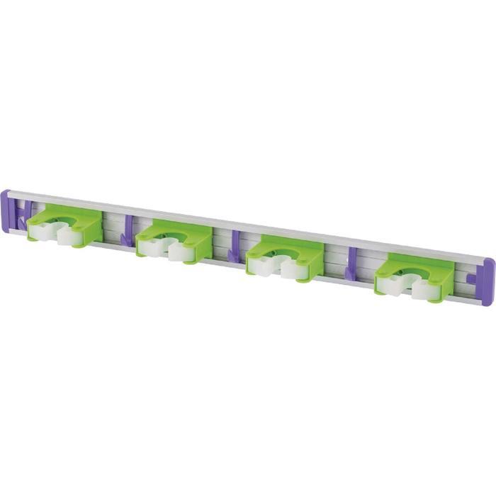 Алюминиевый настенный держатель для садово-огородного инструмента, 4 ячейки, 4 крюка// Palisad  526