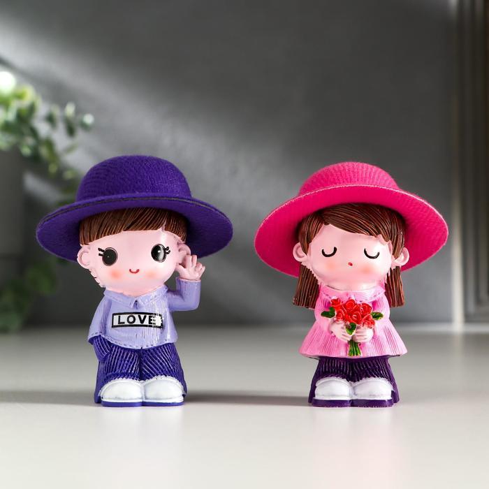 Сувенир полистоун МалышМалышка в шляпке набор 2 шт 6,5х6х4 см