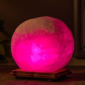 Соляной светильник  'Круг' LED (диод цветной) USB белая соль 12,5*5*10 см Ош