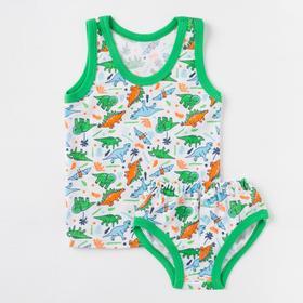 Комплект для мальчика, рост 80 см, цвет белый/динозаврики