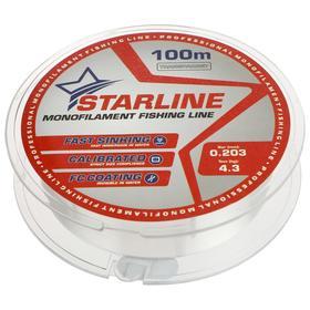Монофильная леска STARLINE 100 м (transparent) d=0,203 мм