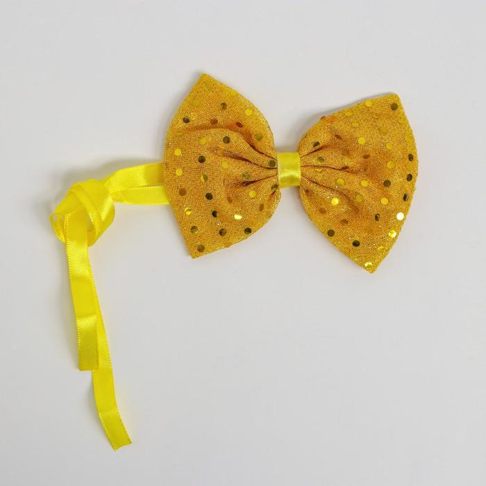 Карнавальная бабочка, с пайетками, цвет жёлтый