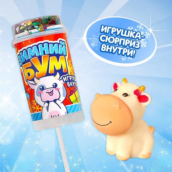 Хлопушка на палочке Зимний бум, коровка