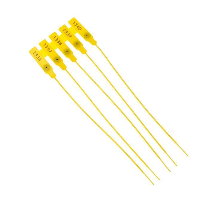 Пломба пластиковая, пронумерованная, 240 мм, желтый, фасовка 20 шт