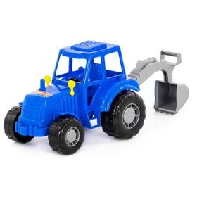 Трактор с лопатой, цвет синий (в сеточке)