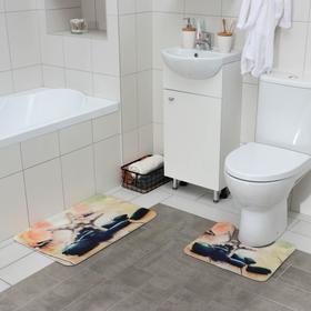 Набор ковриков для ванны и туалета «Морская звезда», 2 шт: 45×70, 39×45 см