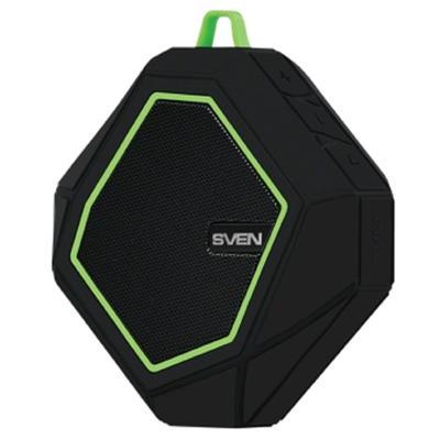 Портативная колонка Sven PS-77 5Вт, FM, AUX, microSD, Bluetooth, 600мАч, черно-зеленый - Фото 1