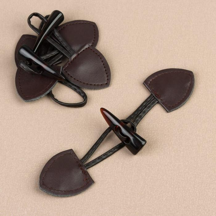 Застёжка-клевант 16 × 3,6 см, 3 шт, цвет коричневый