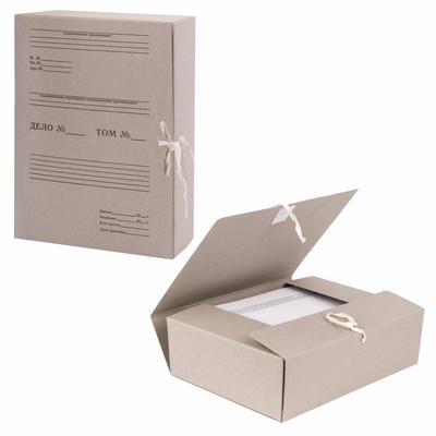 Короб архивный В4 на завязках 80 мм, переплетный картон, бурый - Фото 1