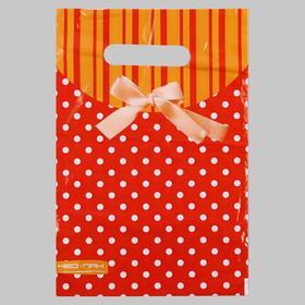 Пакет 'Горошек с бантом', полиэтиленовый с вырубной ручкой, 20х30 см, 30 мкм Ош