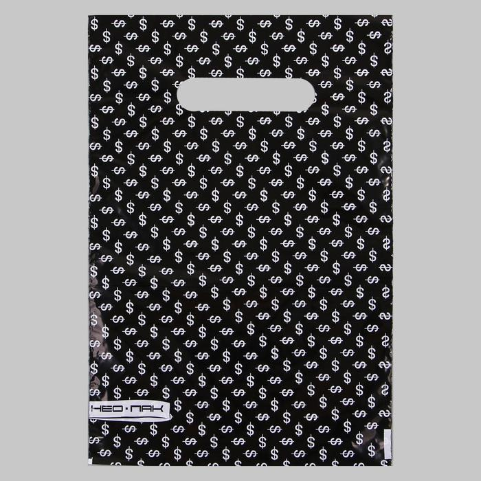 Пакет Валюта, полиэтиленовый с вырубной ручкой, 20х30 см, 30 мкм