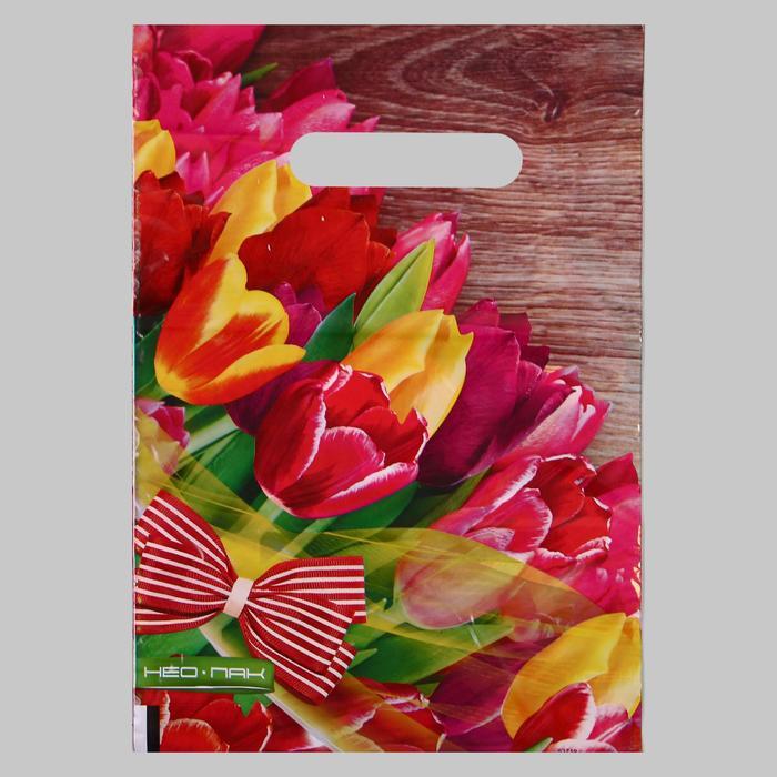 Пакет Тюльпаны с бантом, полиэтиленовый с вырубной ручкой, 20х30 см, 30 мкм