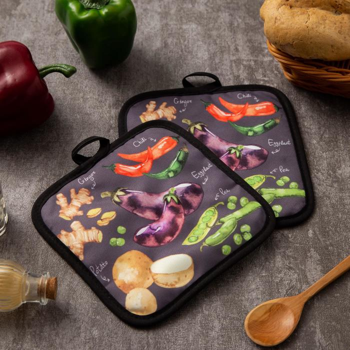 Кухонный набор Доляна Овощи, прихватка 17х17 см - 2 шт