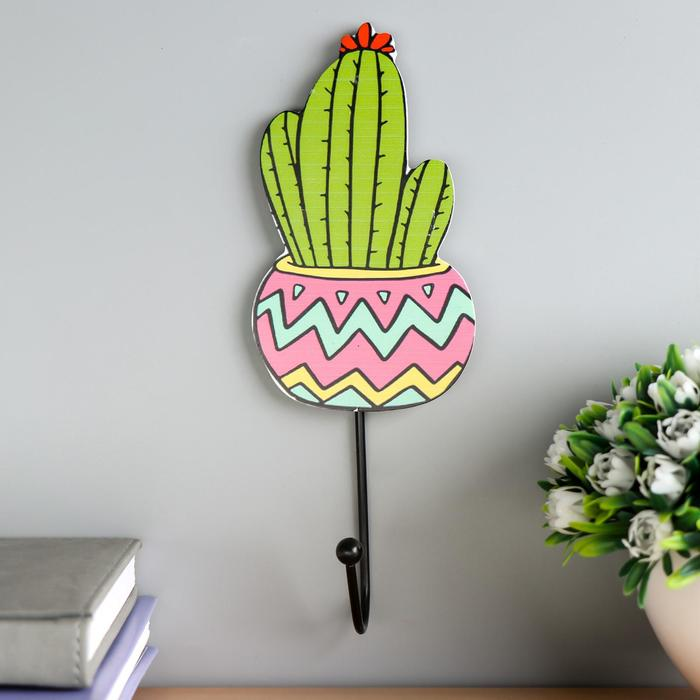 """Крючок декоративный дерево """"Цветущий кактус"""" 21,5х8х4,5 см"""